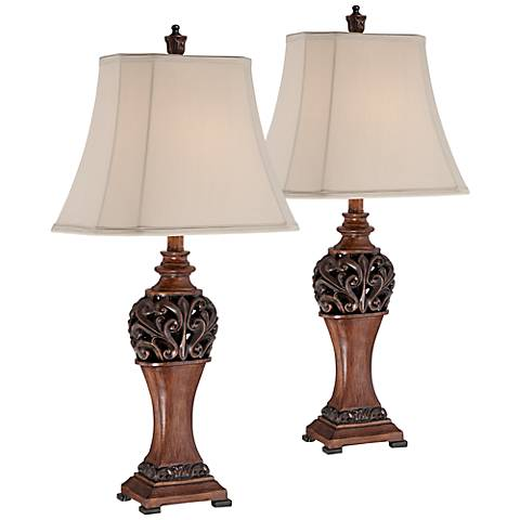 """Exeter 30"""" High Wood Table Lamps Set of 2 with 9W LED Bulbs"""
