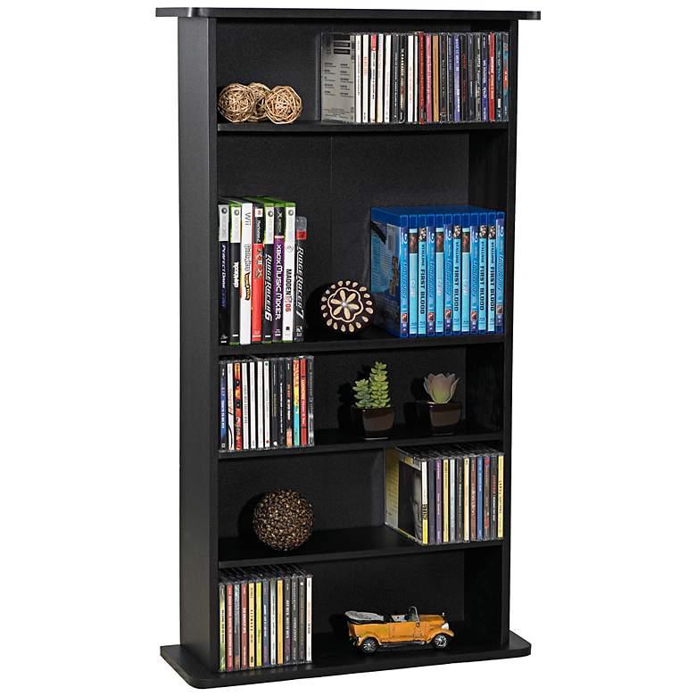 "Drawbridge 36"" High Black Finish Media Storage Cabinet"