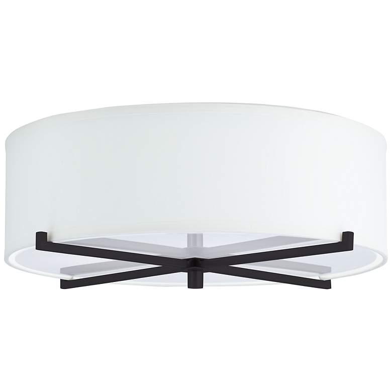 3R465 - White Shantung Linen Ceiling Light
