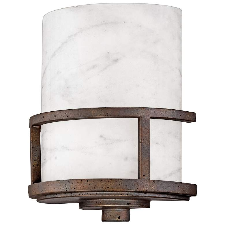"Quoizel Kyle 11""H Brown Iron Gate and White Onyx Wall Sconce"