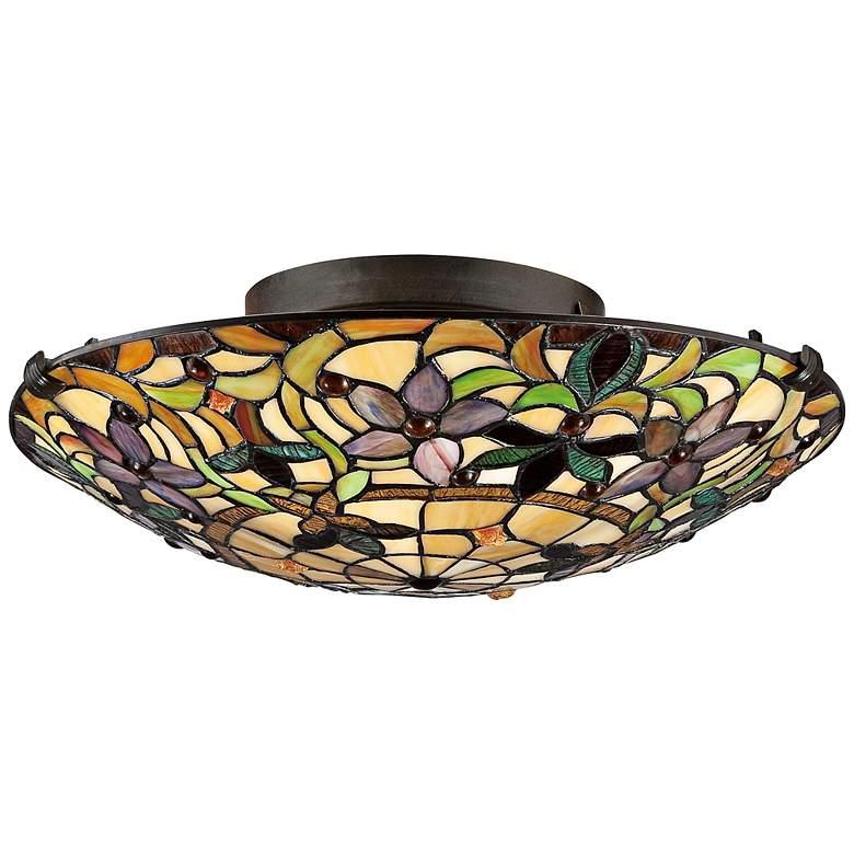 """Quoizel Kami 17"""" Wide Vintage Bronze Ceiling Light"""