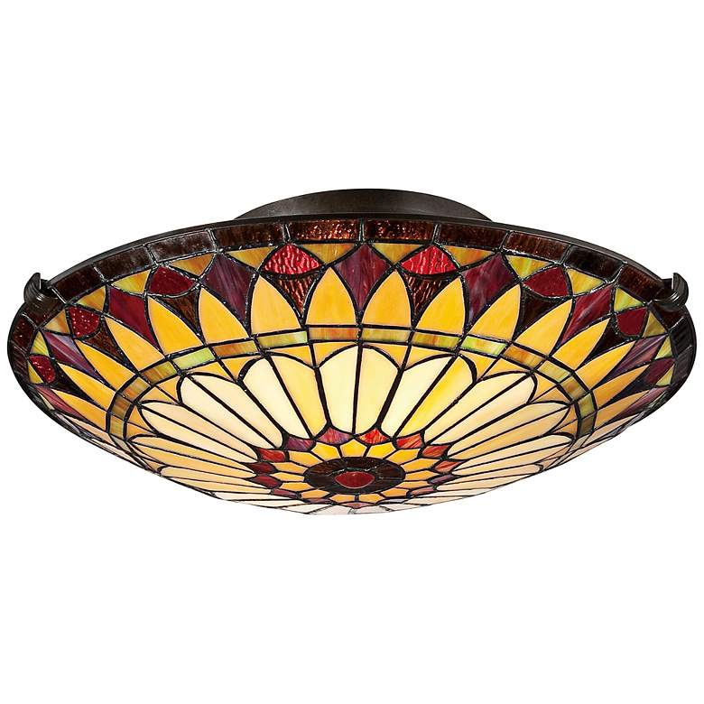 """West End 17"""" Wide Tiffany-Style Sunflower Ceiling Light"""