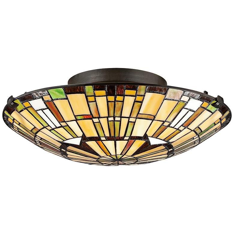 """Quoizel Reed 17"""" Wide Vintage Bronze Ceiling Light"""