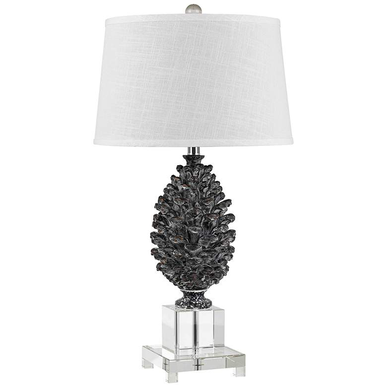 Pine Cone and Crystal Table Lamp