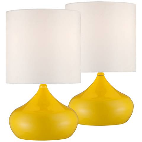 "Set of 2 Steel Droplet 14 3/4""H Canary Yellow Accent Lamps"