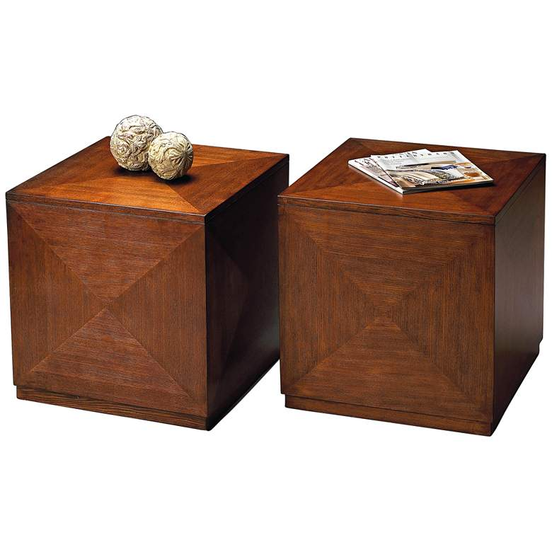 """Transitions 20"""" Wide Chestnut Burl Wood Cube Table"""