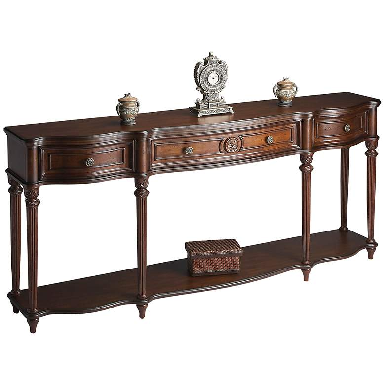"Madison 72"" Wide Cherry Finish Console Table"