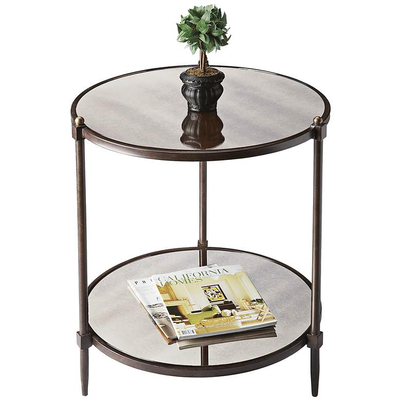 """Metalwork 22"""" Wide Pewter and Gold Mirrored Glass Side Table"""