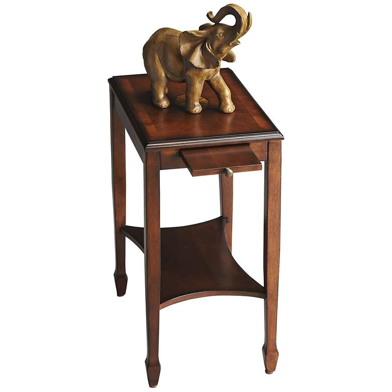"""Masterpiece 12"""" Wide Olive Ash Burl Traditional Side Table"""