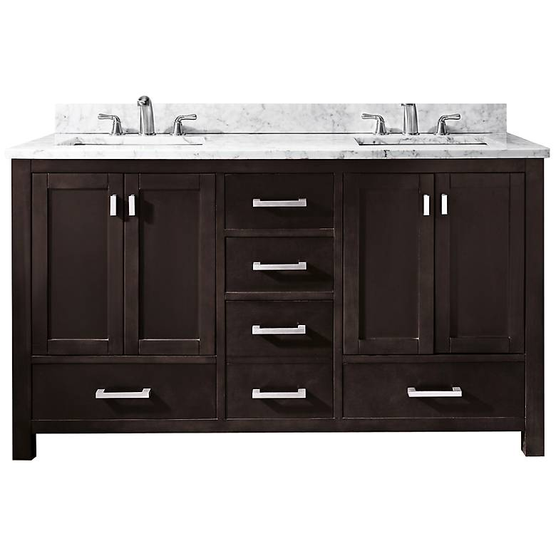 "Avanity Modero 60"" Marble Espresso Double Sink Vanity"