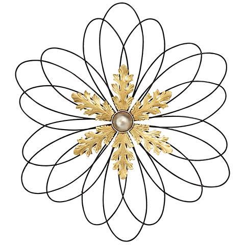 "Gold Metal Snowflake 30"" Round Wall Art"