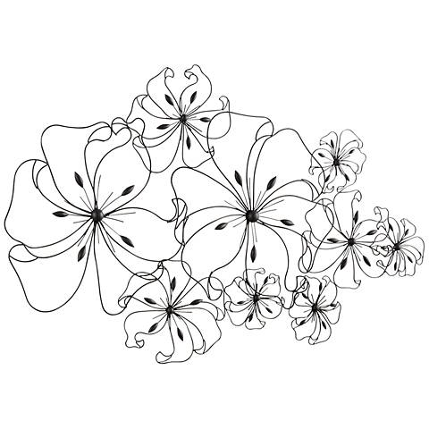 "Six Fancy Flower 52"" Wide Wall Art"