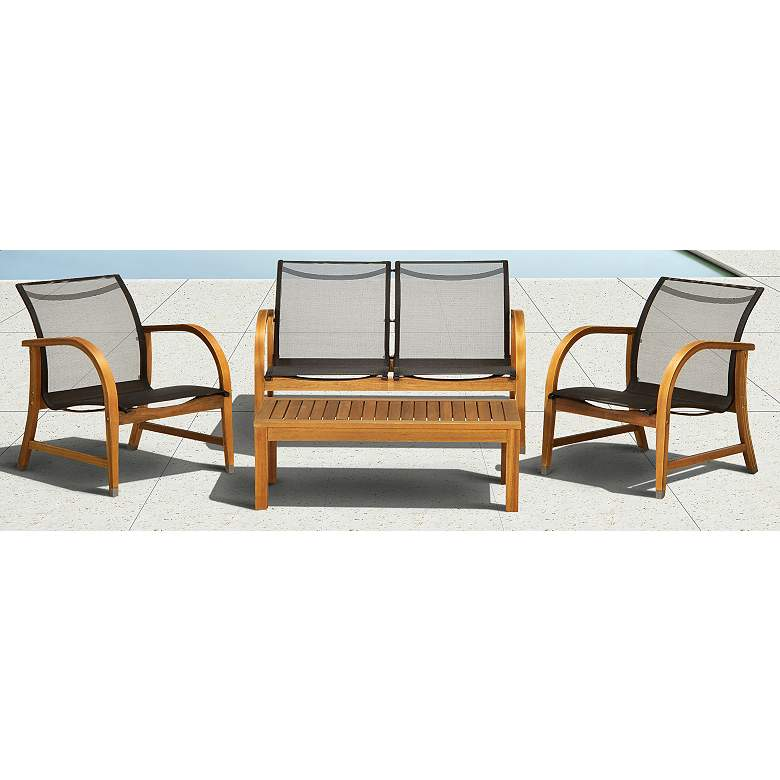4-Piece Ruetta Eucalyptus Patio Deep Seating Set