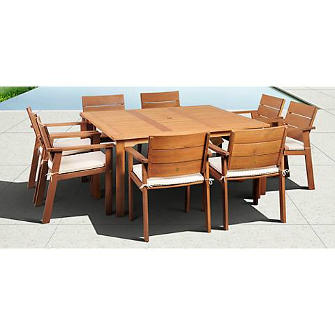 9-Piece Seaview Eucalyptus Square Dining Set