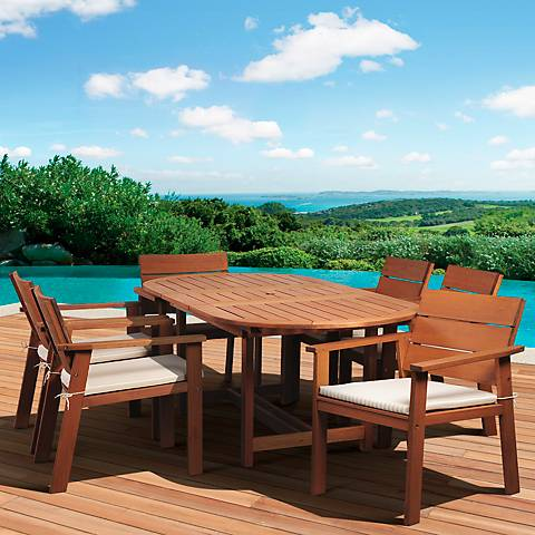 7-Piece Seaview Eucalyptus Extendable Dining Set