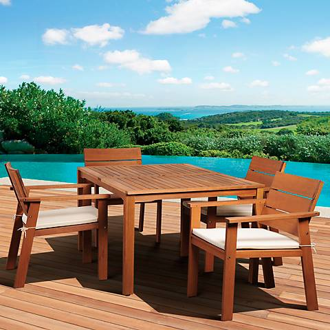 5-Piece Seaview Eucalyptus Rectangular Dining Set
