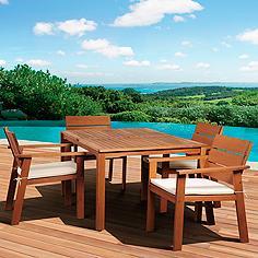 5-Piece Seaview Eucalyptus Rectangular Dining Set