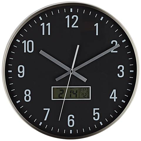 "Malik 14"" Round LCD Display Metal Wall CLock"