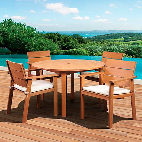 5-Piece SeaviewEucalyptus Round Dining Set