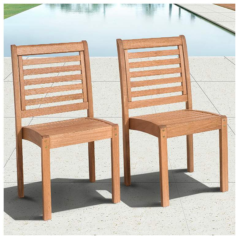Cabela Set of 2 Eucalyptus Stackable Patio Chairs