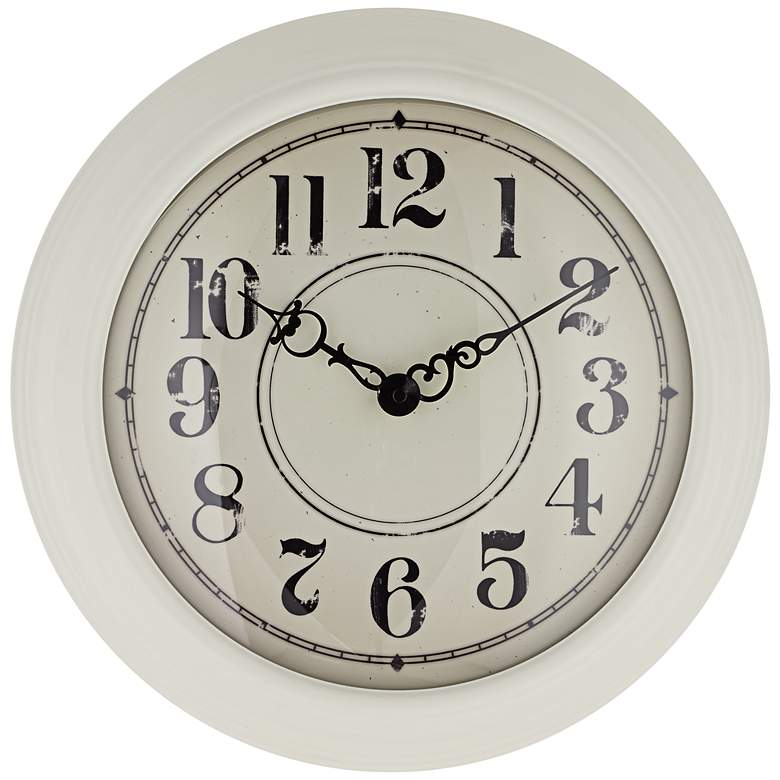 """Bloomfield 15"""" Round White Metal Wall Clock"""