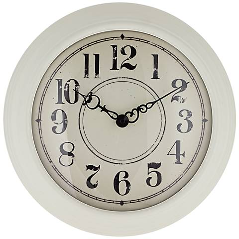 "Bloomfield 15"" Round White Metal Wall Clock"