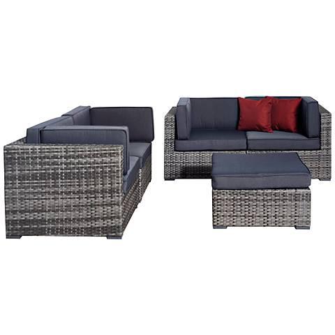 Aquitaine Gray Wicker Loveseat Patio Seating Set