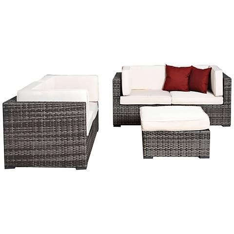 Aquitaine White and Gray Wicker Loveseat Patio Seating Set