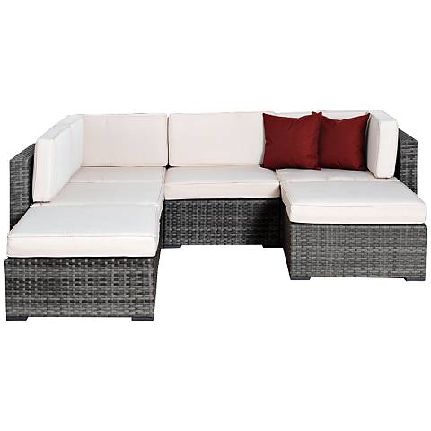 6-Pc Palomino Gray and White Patio Seating Set