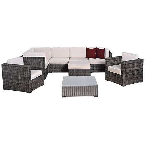 9-Pc Clarence Gray and White Wicker Patio Set