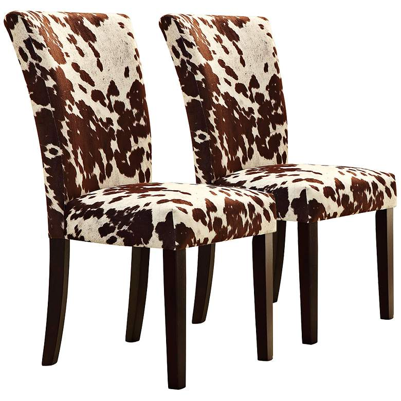 HomeBelle Set of 2 Cowhide Print Side Chairs