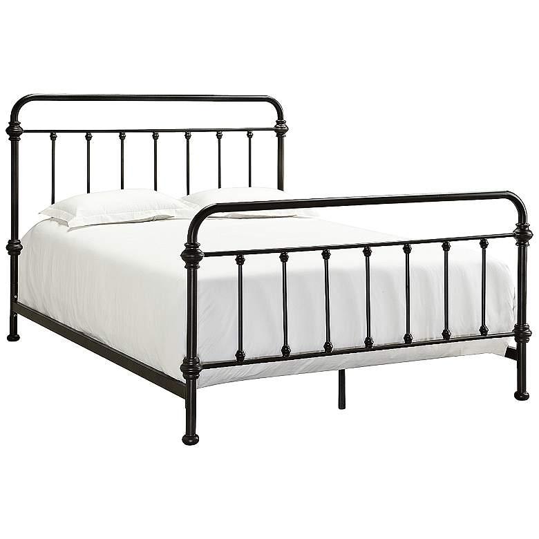HomeBelle Margaret Queen Brown Spindle Bed