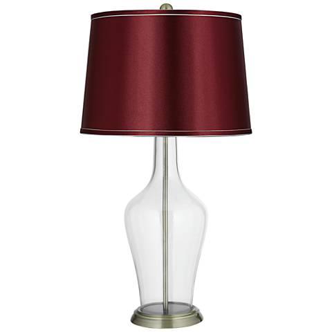 Satin Merlot Shade Clear Fillable Anya Table Lamp