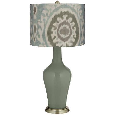 Deep Lichen Green Blue Batik Paisley Anya Table Lamp