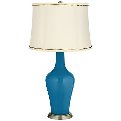 Mykonos Blue Anya Table Lamp with President's Braid Trim