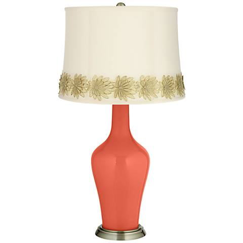 Koi Anya Table Lamp with Flower Applique Trim