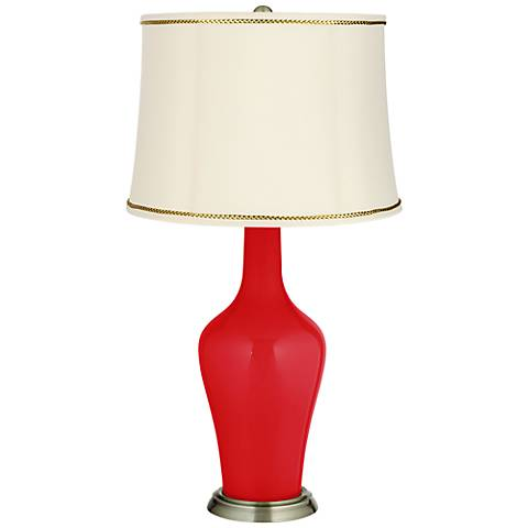 Bright Red Anya Table Lamp with President's Braid Trim