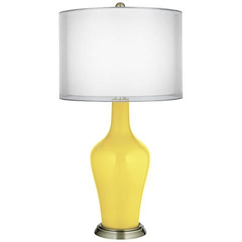 Lemon Twist Double Sheer Silver Shade Anya Table Lamp