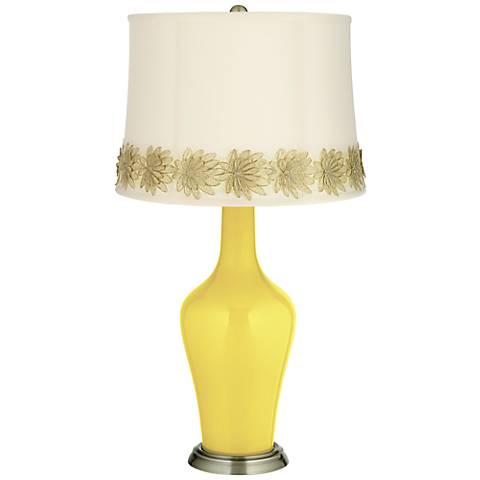 Lemon Twist Anya Table Lamp with Flower Applique Trim