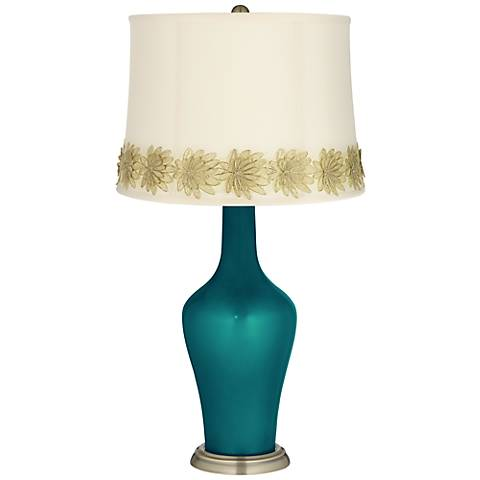 Magic Blue Metallic Anya Table Lamp with Flower Applique Trim