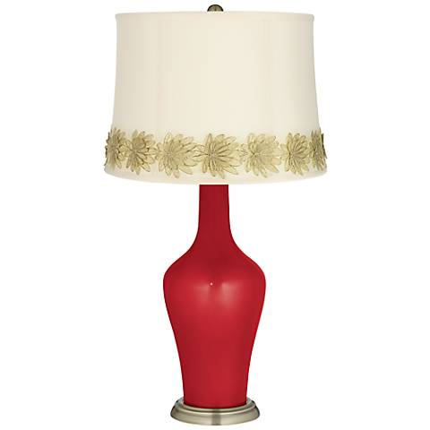 Sangria Metallic Anya Table Lamp with Flower Applique Trim