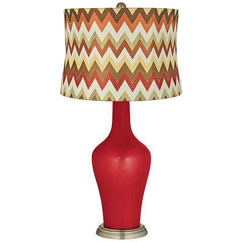 Sangria Metallic Red and Brown Chevron Shade Anya Table Lamp