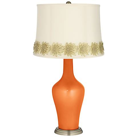Burnt Orange Metallic Anya Table Lamp with Flower Applique Trim