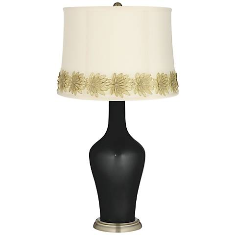 Caviar Metallic Anya Table Lamp with Flower Applique Trim