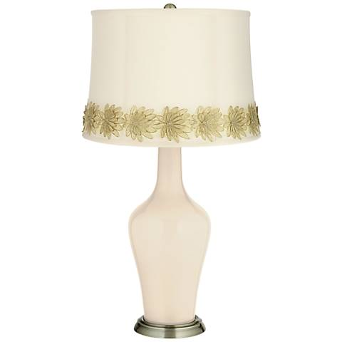 Steamed Milk Anya Table Lamp with Flower Applique Trim