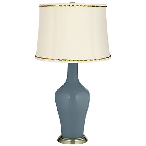 Smoky Blue Anya Table Lamp with President's Braid Trim