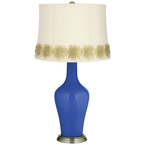 Dazzling Blue Anya Table Lamp with Flower Applique Trim