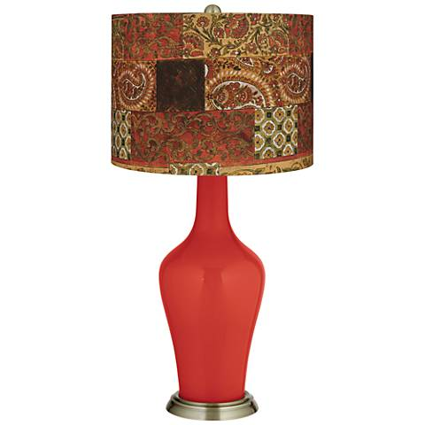 Cherry Tomato Paisley Patchwork Anya Table Lamp