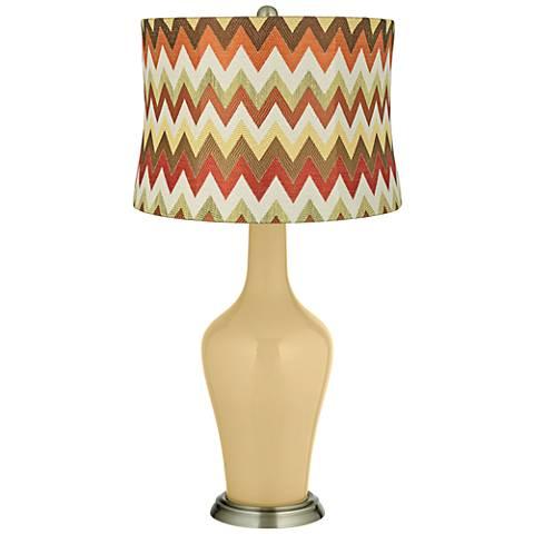 Humble Gold Red and Brown Chevron Shade Anya Table Lamp