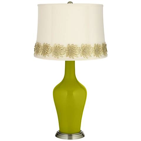 Olive Green Anya Table Lamp with Flower Applique Trim